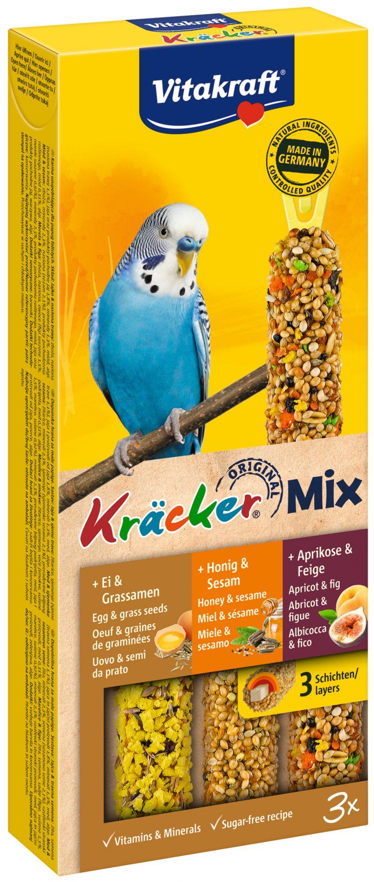Vitakraft Kracker Mix Parkiet Ei/Honing/Abrikoos