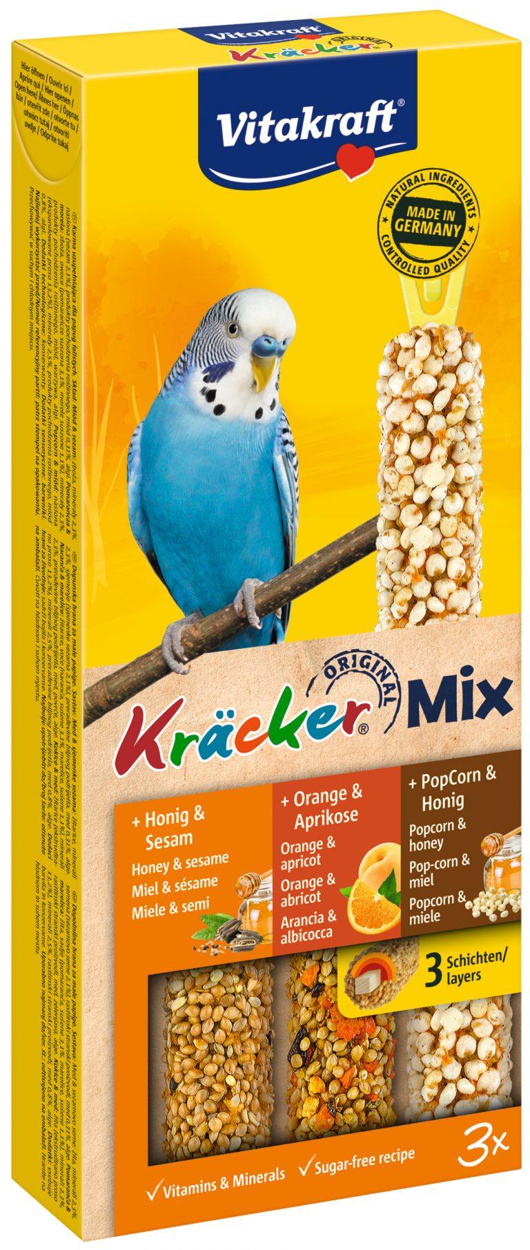 Vitakraft Kracker Mix Parkiet Honing/Sinaasappel/Popcorn