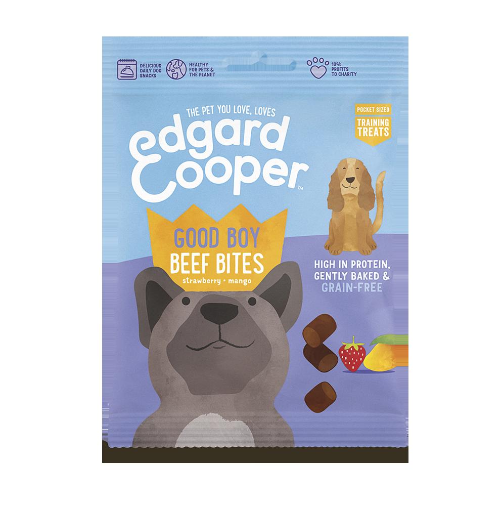 De Edgard & Cooper Beef Bites zijn heerlijke beloningssnoepjes voor jouw hond. Deze snoepjes van Edgard en Cooper zijn gemaakt met verse rund aardbeien en mango.